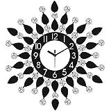 CHRONIKLE Iron Diamond Series with Flower Design Wall Clock (46 cm x 46 cm x 4 cm, Black & White)
