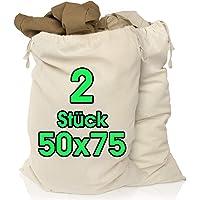 Lot de 2 sacs à linge 50 x 75 cm en 100% coton - très grand sac à linge résistant - collecteur de linge de voyage Boîte…