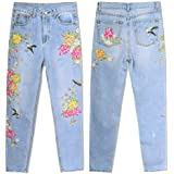HOSDJeans Women's Clothing Floral Embroidery Denim Pants High Waist Straight Vintage Ripped Ladies Slim Jean Trousers