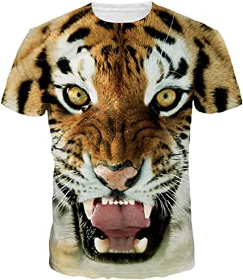 Women Angry Tiger T-Shirts Tops Newest Animal Design Summer Short Sleeve Shirts