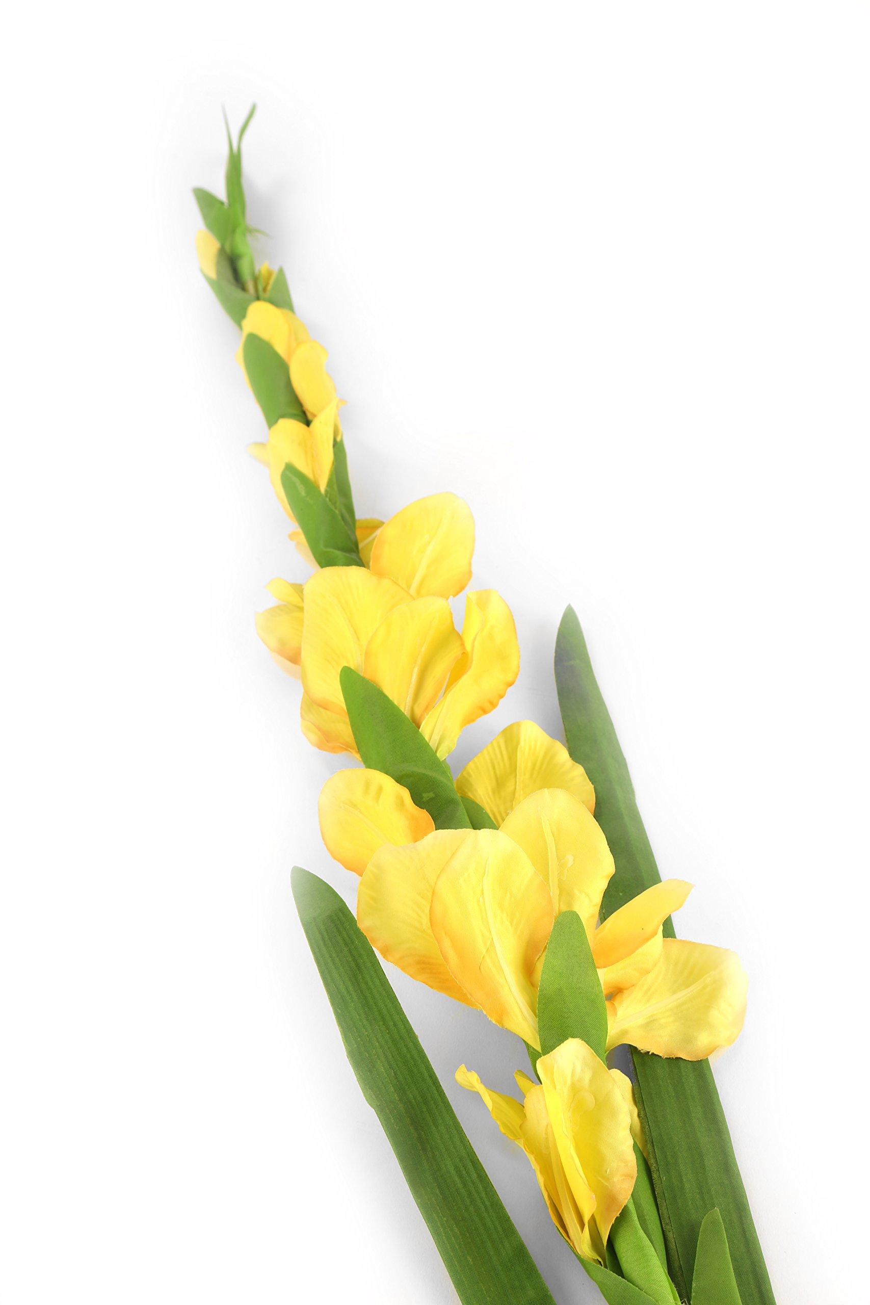 Floral Elegance F075YL Vástago Artificial, gladiolo, 118 cm, Amarillo, 120x12x12 cm