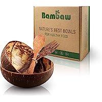 Bambaw Bols Noix de Coco et Couverts en Bois   Deux Bols en Bois en Noix de Coco surcyclées   Poke Bowl   Buddha Bowl…