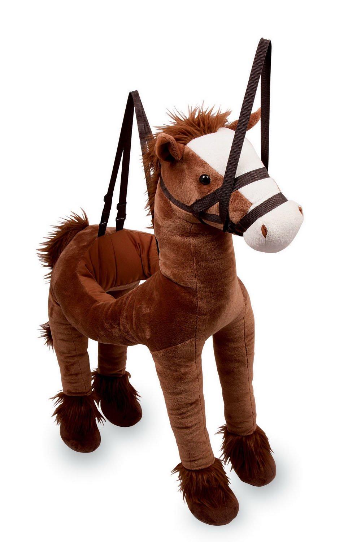 """Umhänge-Pferd """"Maxi"""", hochwertiges Plüschtier-Pferd für Kinder mit Fell und verstellbaren Trägern für bequemes Reiten"""