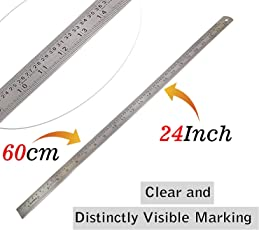 60cm Stainless Steel Ruler Scale Long 2 Side Measuring Tool for Architects, Engineers, College Students