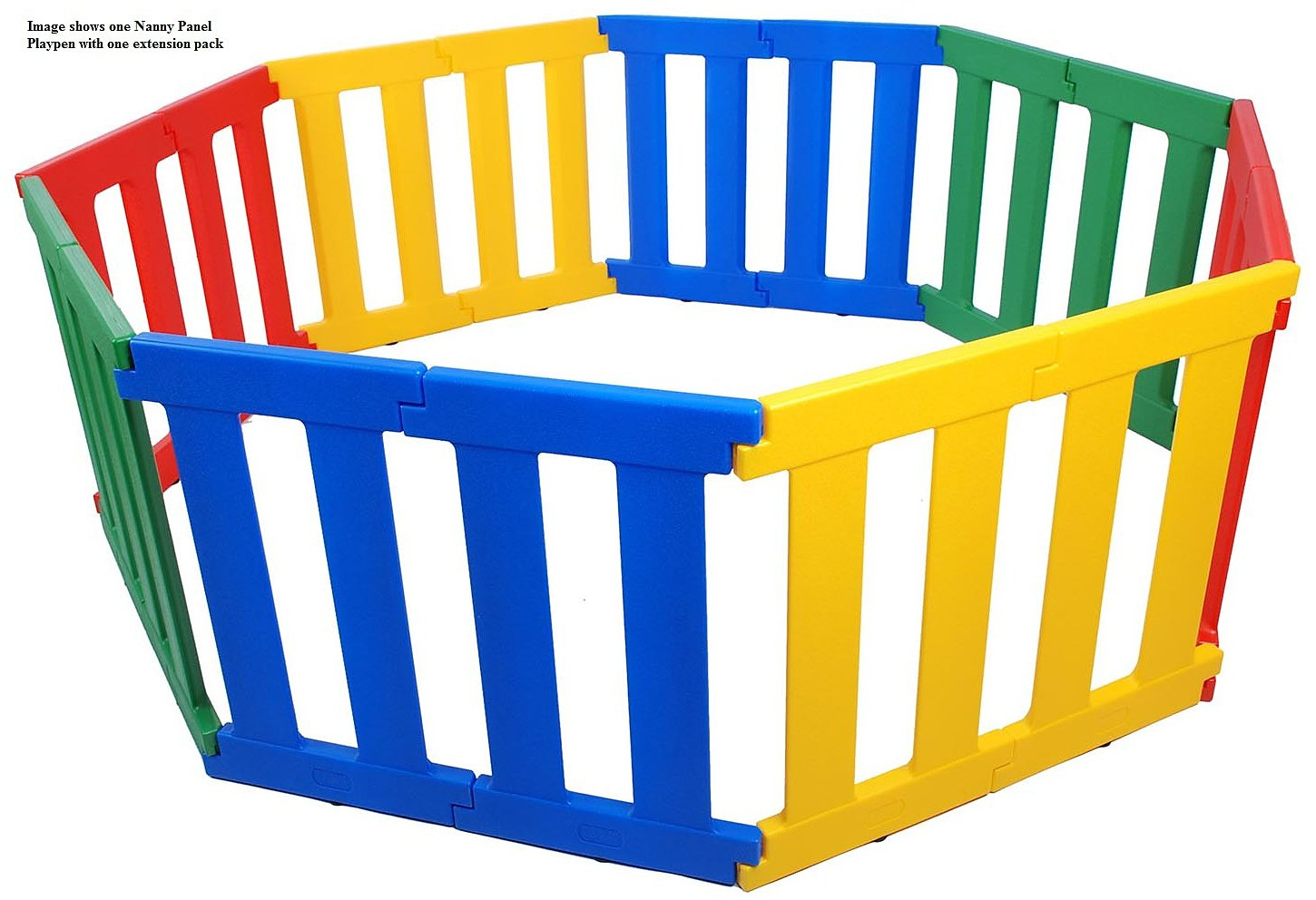 TikkTokk Nanny Panel Playpen Extension Pack (multi-Coloured) TikkTokk Extension Pack for the Nanny Panel Play Pen (TNP01C) - contains 4 panels each 38cm wide One extension pack will increase Playpen to 152cm x 152cm 2 year manufacturer's guarantee 2
