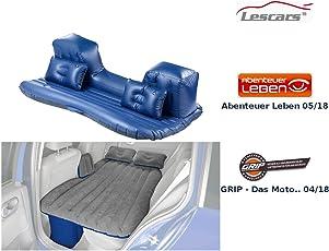 Lescars Auto Matratze: Aufblasbares Bett für den Auto-Rücksitz, mit Kissen und Fußraum-Stütze (Bett fürs Auto)
