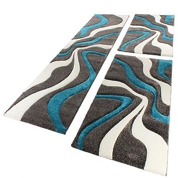 Läufer 80x300 bettumrandung läufer teppich muster modern türkis grau weiss