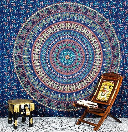 Tapiz Hipistry Hub con estampados de Mandala, camellos, elefantes y pavos reales,...