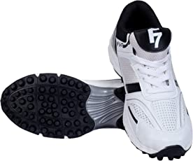 Fashion7 PVC Cricket Shoes for Mens - Lightweight, maximized Grip & Quick Actions (Black & White)