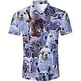 TUONROAD Hawaiian Shirt for Men Funny Cat 3D Printed Beach Shirt Short Sleeve Shit Shirt Mens Button Down Summer Casual Shirt