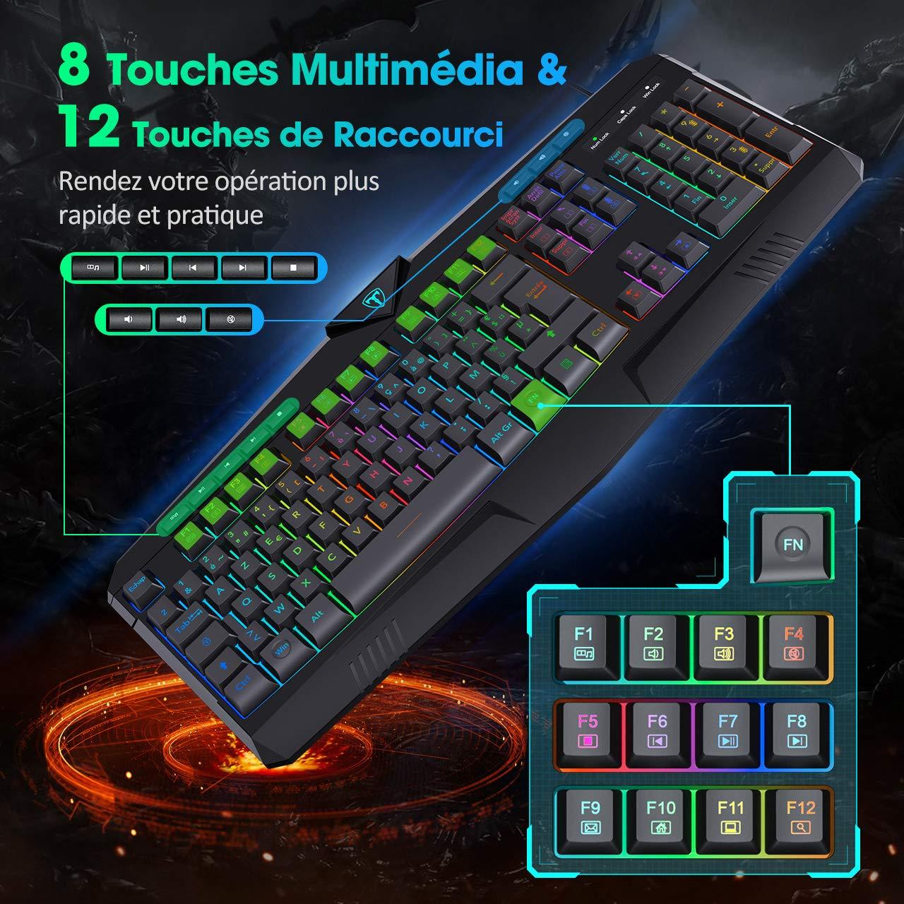 PICTEK Clavier Gamer AZERTY RGB Clavier USB Filaire Rétroéclairage [Version Améliorée 2020] avec 8 Touches Multimédia Indépendant et 25 Touches