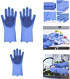 Ivaan Magic Dishwashing Gloves with Scrubber, Silicone Cleaning Reusable Scrub Gloves for Wash Dish,Kitchen, Bathroom…