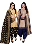 Rajnandini Women's Cotton Printed Unstitched Salwar Suit Material (Combo Of 2) (Free Size_Beige And Beige)