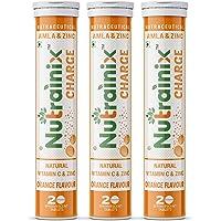 Nutrainix Charge Vitamin C antioxidant 1000 mg - Natural Amla for Immunity - 60 Effervescent Tablets - Orange flavour