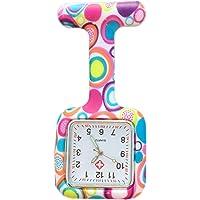 Boolavard® TM Orologio da infermiere in silicone con spilla - orologio tascabile SQUARE Colourful Bubbles