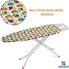 MEDED Steel Foldable and Height Adjustable Ironing Board/Table Stand with Press Holder (110x33cm)