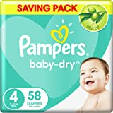Pampers Baby-Dry Diapers, Size 4, Maxi, 9-18 kg, 58 count