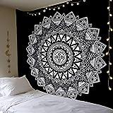 Dremisland Tapiz de Pared Mandala Bohemio Indio Tapicería de Hippie Colgante de Pared Blanco y Negro Tapestry Toalla de Playa