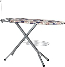PAffy Steel Folding Ironing Board with Tray/Wire Manager and Aluminised Surface, White
