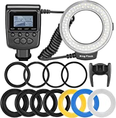 SHOPEE 48 Macro LED Ring Flash-Bundle with LCD Display Power Control, Adapter Rings and Flash Diffusers