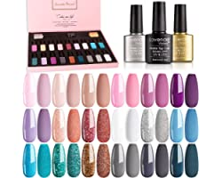 Lavender Violets 21 Pcs Gel Nail Polish Most Wanted Gift Set Soak Off UV LED Base,Glossy n Matte Top Coat for Nail Art Salon