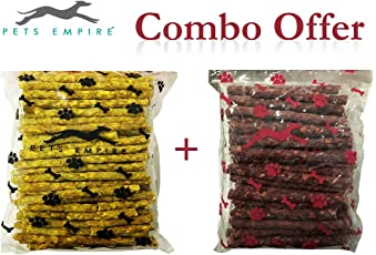 Pets Empire Combo Of Dog Chew Sticks Chicken Flavor (1Kgs) + Dog Chew Sticks Mutton Flavor (1Kgs) Pack Of 2
