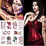 Temporay Tattoos, 10 hojas de diseño diferentes, Halloween Zombie Scars Tattoos Stickers con Fake Scab Blood Special Fx Body