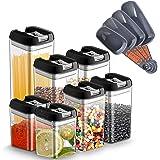 Chenci 7pcs Boîtes Alimentaire Conservation Hermétique Plastique Boite Rangement Cuisine avec Couvercle Bocal,sans BPA Étanch