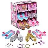 deAO Gioco di Scarpe e Accessori di Principessa Gioco d'Imitazione per Bambini Set di 4 Paia di Scarpe col Tacco e 8 Gioielli