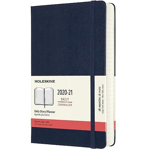 Moleskine - Agenda Giornaliera 18 Mesi, Agenda 2020/2021, Daily Planner con Copertina Rigida e Chiusura ad Elastico, Formato Large 13 x 21 cm, Colore Blu Zaffiro, 608 Pagine