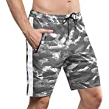 VANVENE Men's Gym Running Sports Shorts Fashion Summer Cotton Shorts Jogger Workout Training Shorts with Zip Pockets