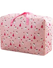 House of Quirk Extra Large Oversized Handy Storage Bag Heavy Duty Travel Luggage Caddy Organizer Laundry Bags Duffel Space Saver with Web Handles for Quilt Beddings Blanket - Pink Printed