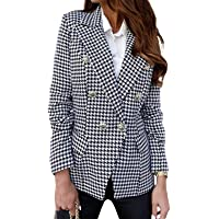 Onsoyours Womens Blazers Plaid Tweed Jacket Long Sleeve Dress Lapel Collar Double Breasted Houndstooth Elegant Coats…