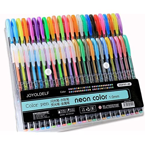 Joyoldelf 48 Penne Gel a Punta Fine Colori Standard Punta con Diametro di 1 mm perfetti per Scrittura,Colorare o Manga (12 fluo + 12 penne ad acqua + 12 neon + 12 metallizzate)