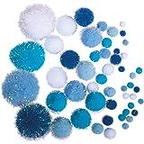 Rayher 76529000 Pompons métalliques, bleu & blanc