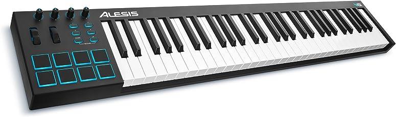 Alesis V61 Tastiera Controller MIDI USB a 61 Tasti con 8 Pad Retroilluminati, 4 Potenziometri e 4 Pulsanti Assegnabili + Software di Produzione Incluso