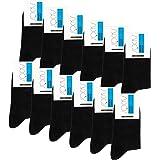Falechay Calcetines Ejecutivos Hombres Mujer Negros 12 Pares Transpirables Algodón