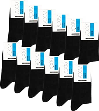 Falechay Socks Men Women 12 Pairs Black cotton Breathable Calf Socks Classic Comfortable
