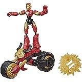 Marvel Avengers Bend and Flex, Flex Rider Iron Man-actiefiguur, buigbare figuur van 15 cm en 2-in-1 motor voor kinderen vanaf