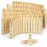 COM-FOUR® 120x Kledingknijpers van hout - Hoogwaardige houten knijpers van bamboe - Klemmen voor het ophangen van kleren