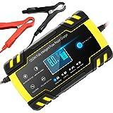 Chargeur de Batterie Intelligent 12V/24V 8A, Chargeur Batterie Mainteneur et Automatique Réparation Fonction Portable avec Éc