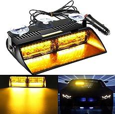 AMBOTHER® Frontleuchte 16 LED Auto Warnleuchte Blinker Warnlicht Blitzleuchte DC 12V gelb