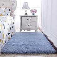 Chunxd Living Room Sofa Coffee Table Mat Bedroom Bedside Carpet Girl Bedroom Bedside Carpet -2X1.4 Meters Blue Gray