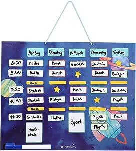 Navaris Abwischbarer Wochenplan Magnetisch 40 X 32cm Mit 115 Magneten Und Stift Magnettafel Familienplaner Wochenplaner Tafel Astronautendesign Bürobedarf Schreibwaren