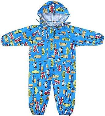 Gagacity Pioggia Completo Bambini Pioggia Cappotto Impermeabile Impermeabile in Un Unico Pezzo 75-135cm 1-7 Anni
