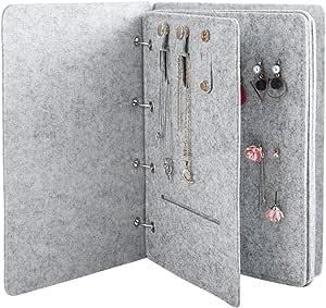 Idiytip Solution de Stockage de Boucles doreilles Portable Bijoux Livre pr/ésentoir Organisateur Collier Accessoires Rose Rouge