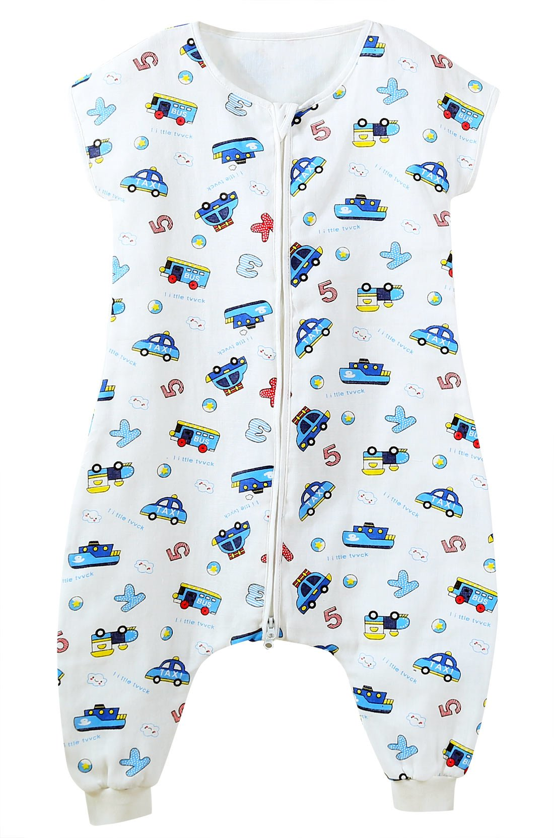 FEOYA Saco de Dormir Bebé Verano sin Manga Pies Separados Sleepingbag Estampados Algodón Transpirable 70-90CM