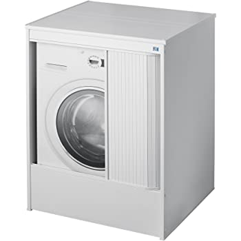 mongardi berbauschrank f r waschmaschine und trockner aus robustem kunststoff in wei mit. Black Bedroom Furniture Sets. Home Design Ideas