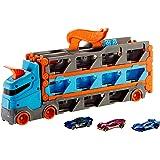 Hot Wheels Camión de transporte convertible en pista para coches de juguete, almacena 20 vehículos, incluye 3 die-casts (Matt