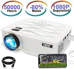 THZY Beamer Projektor LCD Projektor LCD Mini Beamer 2200 Lumens LED + LCD Heimkino Videoprojektor ,50000 hour Mini Beamer, unterstützt 1080P Full HD, HDMI, VGA, USB x 2, SD, AV und Kopfhörer Schnittstelle, inkl HDMI und AV Kabel, Multimedien Heimkino Entertainment, Weiß
